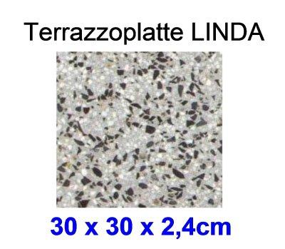 Terrazzoplatte LINDA, 30x30x2,4cm