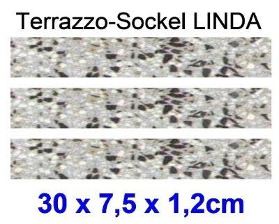 Terrazzo-Sockellleiste Linda, 30 x 7,5 x 1,2cm